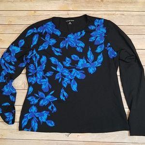 Lands End rash guard swim top blue floral black